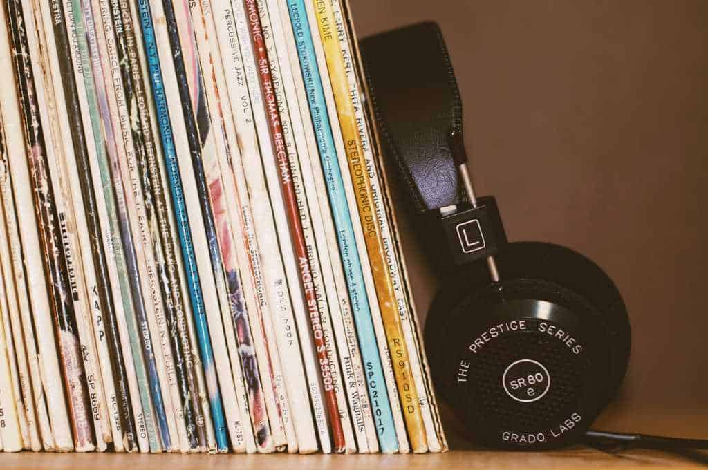 Vintage records and headphone